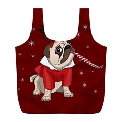 Pug Xmas Full Print Recycle Bags (l)