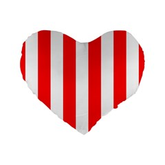 Wide Red And White Christmas Cabana Stripes Standard 16  Premium Flano Heart Shape Cushions