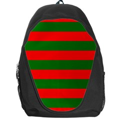 Red And Green Christmas Cabana Stripes Backpack Bag