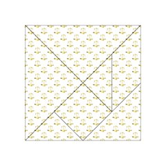 Gold Scales Of Justice On White Repeat Pattern All Over Print Acrylic Tangram Puzzle (4  X 4 )