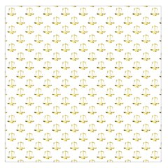 Gold Scales Of Justice On White Repeat Pattern All Over Print Large Satin Scarf (square)