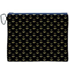Gold Scales Of Justice On Black Repeat Pattern All Over Print  Canvas Cosmetic Bag (xxxl)