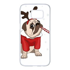 Pug Xmas Samsung Galaxy S7 Edge White Seamless Case