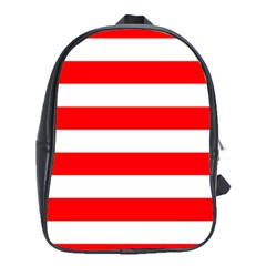Christmas Red And White Cabana Stripes School Bag (xl)