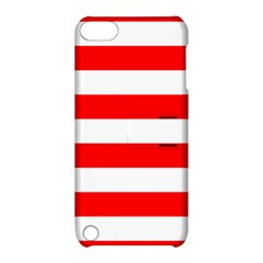 Christmas Red And White Cabana Stripes Apple Ipod Touch 5 Hardshell Case With Stand