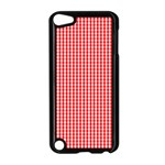 Small Snow White and Christmas Red Gingham Check Plaid Apple iPod Touch 5 Case (Black) Front