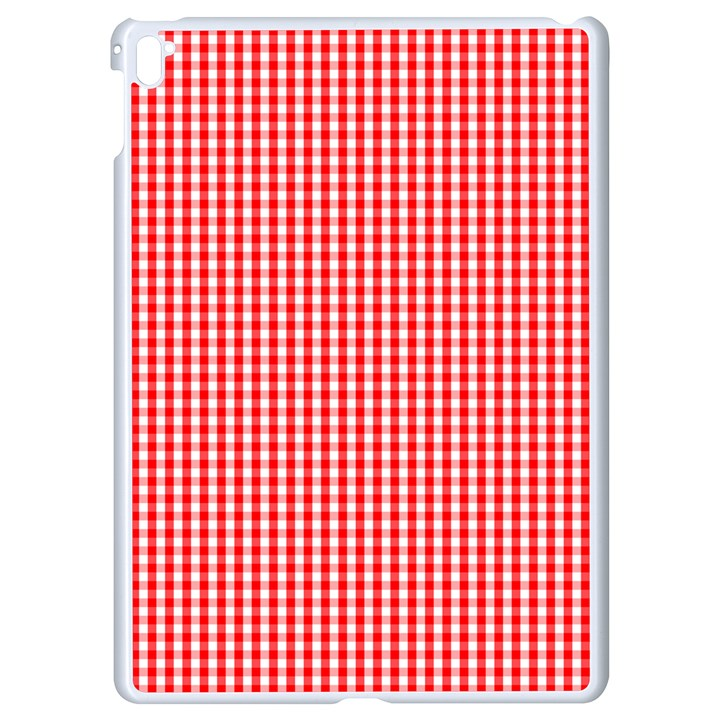 Small Snow White and Christmas Red Gingham Check Plaid Apple iPad Pro 9.7   White Seamless Case