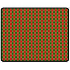 Large Red And Green Christmas Gingham Check Tartan Plaid Double Sided Fleece Blanket (medium)