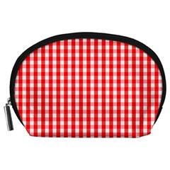 Large Christmas Red And White Gingham Check Plaid Accessory Pouches (large)