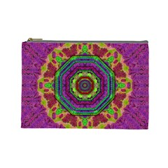 Mandala In Heavy Metal Lace And Forks Cosmetic Bag (large)