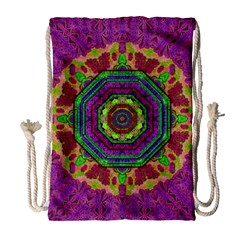 Mandala In Heavy Metal Lace And Forks Drawstring Bag (large)