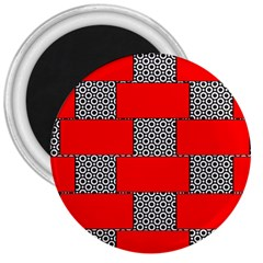 Black And White Red Patterns 3  Magnets
