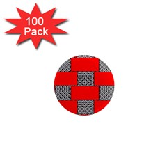 Black And White Red Patterns 1  Mini Magnets (100 Pack)