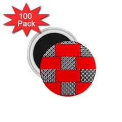 Black And White Red Patterns 1 75  Magnets (100 Pack)