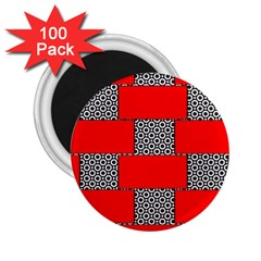 Black And White Red Patterns 2 25  Magnets (100 Pack)