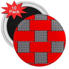 Black And White Red Patterns 3  Magnets (10 Pack)