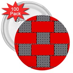 Black And White Red Patterns 3  Buttons (100 Pack)