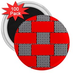 Black And White Red Patterns 3  Magnets (100 Pack)