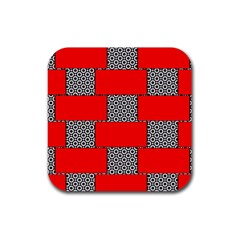 Black And White Red Patterns Rubber Square Coaster (4 Pack)