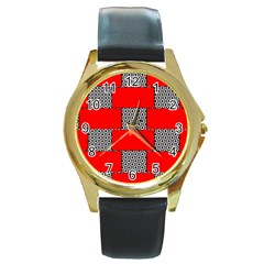 Black And White Red Patterns Round Gold Metal Watch