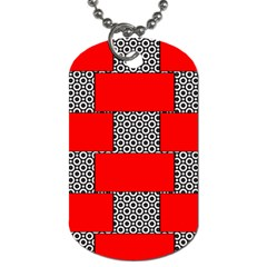 Black And White Red Patterns Dog Tag (one Side)