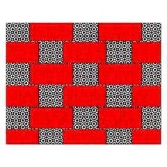 Black And White Red Patterns Rectangular Jigsaw Puzzl
