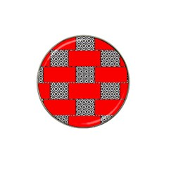 Black And White Red Patterns Hat Clip Ball Marker (4 Pack)