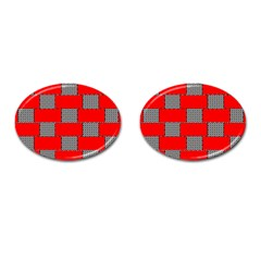 Black And White Red Patterns Cufflinks (oval)