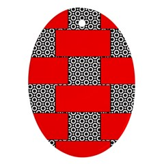 Black And White Red Patterns Oval Ornament (two Sides)