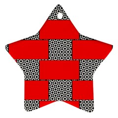 Black And White Red Patterns Star Ornament (two Sides)