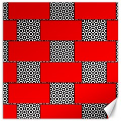 Black And White Red Patterns Canvas 12  X 12