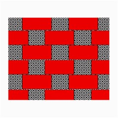 Black And White Red Patterns Small Glasses Cloth (2 Side)
