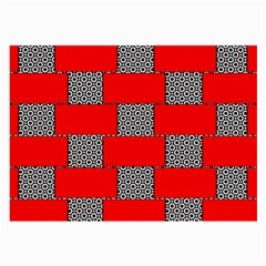Black And White Red Patterns Large Glasses Cloth