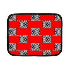 Black And White Red Patterns Netbook Case (small)