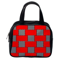 Black And White Red Patterns Classic Handbags (one Side)