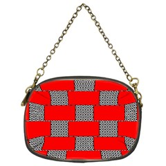 Black And White Red Patterns Chain Purses (one Side)