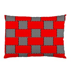 Black And White Red Patterns Pillow Case