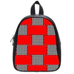 Black And White Red Patterns School Bag (small)
