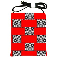 Black And White Red Patterns Shoulder Sling Bags