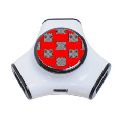 Black And White Red Patterns 3 Port Usb Hub