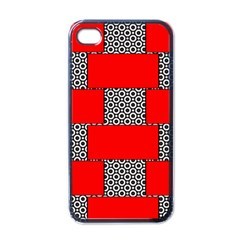 Black And White Red Patterns Apple Iphone 4 Case (black)