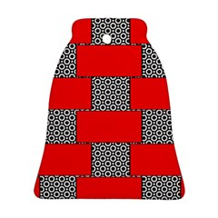 Black And White Red Patterns Ornament (bell)