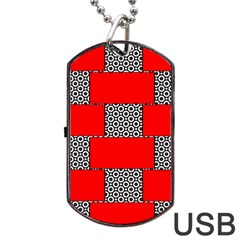 Black And White Red Patterns Dog Tag Usb Flash (two Sides)