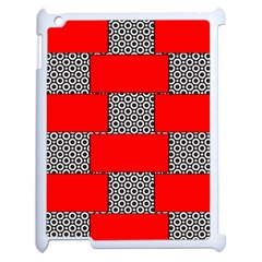 Black And White Red Patterns Apple Ipad 2 Case (white)