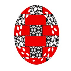 Black And White Red Patterns Ornament (oval Filigree)
