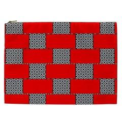 Black And White Red Patterns Cosmetic Bag (xxl)