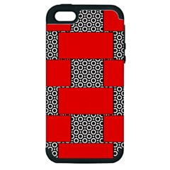 Black And White Red Patterns Apple Iphone 5 Hardshell Case (pc+silicone)