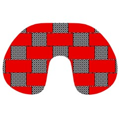 Black And White Red Patterns Travel Neck Pillows