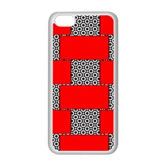 Black And White Red Patterns Apple Iphone 5c Seamless Case (white)