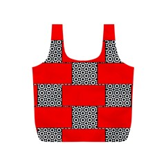 Black And White Red Patterns Full Print Recycle Bags (s)